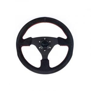 Vigor Volant Monza Noir - Noir 330mm 30mm Peau Retournée Red Waffle Stitch-69402