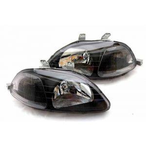 TYC Phares Avants JDM Manuel Ajustable Fond Noir Honda Civic Pre Facelift-42433