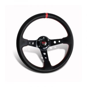 SK-Import Volant Drift Deep Dish Rouge 320mm 75mm Cuir-44928-RD