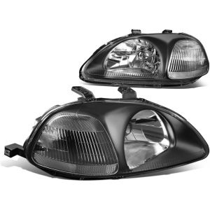 SK-Import Phares Avants JDM Style Fond Noir Transparent Honda Civic Pre Facelift-57636