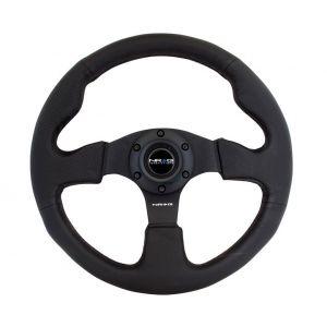NRG Innovations Volant Noir 320mm Cuir Flat-61417