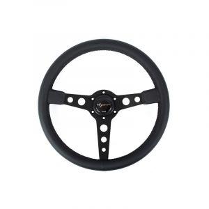 Vigor Volant Monte Carlo Noir - Noir 350mm 20mm Cuir Black Waffle Stitch-67129