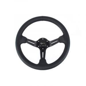 Vigor Volant Daytona Noir - Noir 350mm 70mm Cuir Black Waffle Stitch-67131