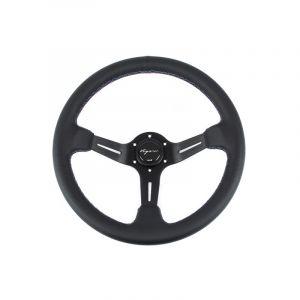 Vigor Volant Daytona Noir - Noir 350mm 70mm Cuir Motorsport Waffle Stitch-67134