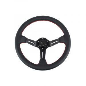 Vigor Volant Daytona Noir - Noir 350mm 70mm Cuir Red Waffle Stitch-67133