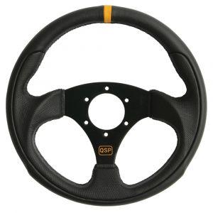 QSP Volant Racing Noir 300mm Cuir Flat-55709
